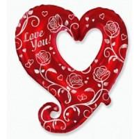 """Сердце с розами """"I LOVE YOU"""""""