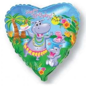"Сердце ""Happy Birthday"" - Танцующий бегемотик"