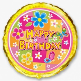 "Круг ""Happy Birthday"" - цветы и бабочки"
