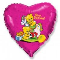 """Сердце """"Happy Birthday"""" - Мишки на лошадки"""